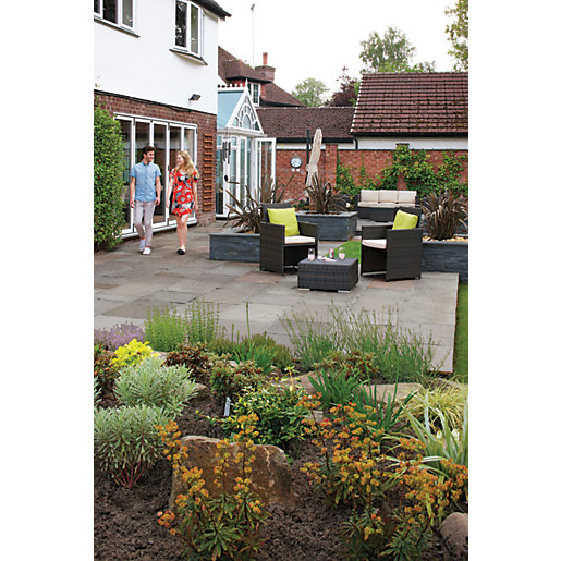 Marshalls Indian Sandstone Riven Grey Paving Slab Mixed