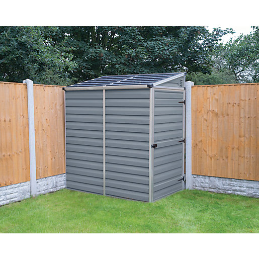 Palram Skylight Plastic Pent Shed With Base Grey 4 X 6