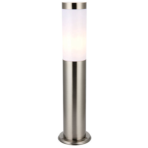 Garden driveway post lights outdoor lighting range wickes wickes bergen brushed chrome short post light stainless steal construction 20w aloadofball Images