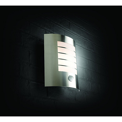 Security lighting lighting decorating interiors wickes wickes oslo chrome wall light with pir 60w mozeypictures Images