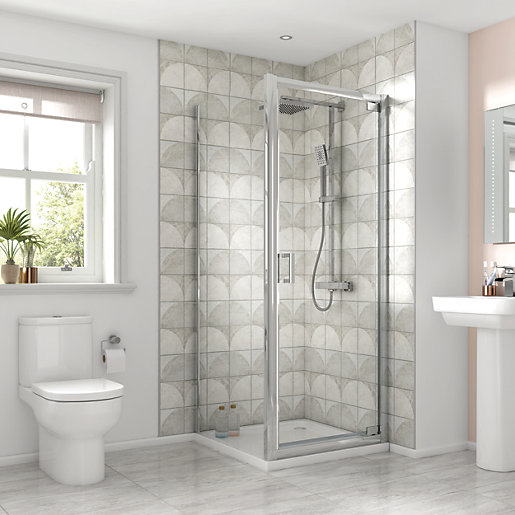 Small Bathroom With Frameless Shower: Wickes Square Pivot Semi Frameless Recess Shower Door