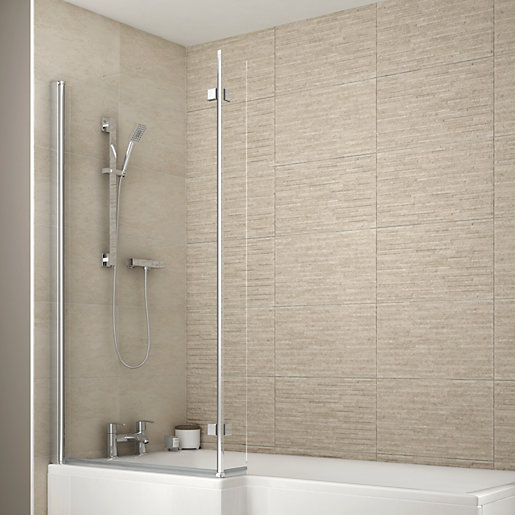 Normal Master Bathroom Size: Wickes Shower Bath Screen For L