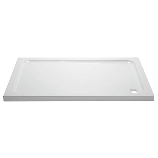 Wickes Cast Stone White Rectangle Shower Tray 45 X 1000
