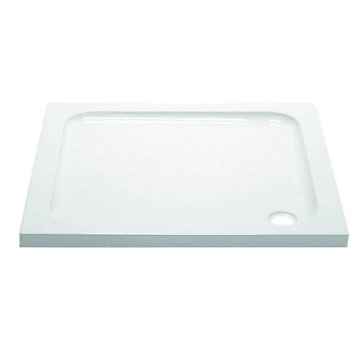 Wickes Square Slimline White Cast Stone Shower Tray   760mm