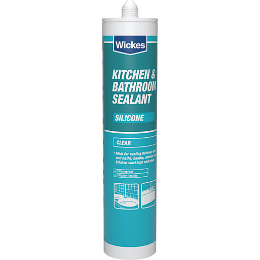 Wickes kitchen bathroom silicone sealant clear 310ml for Silicone paint sealant