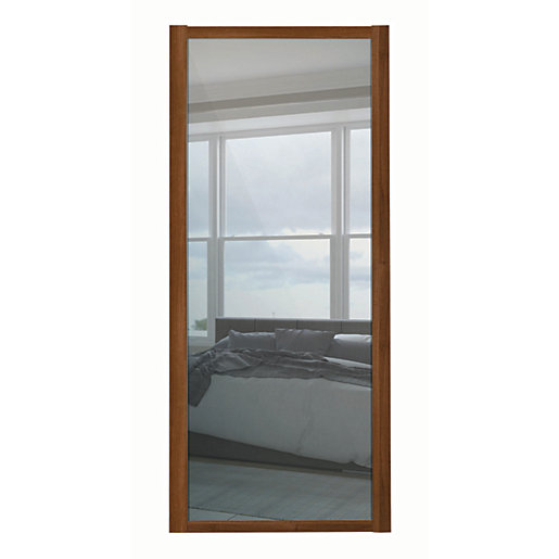 Spacepro 1 Panel Shaker Walnut Frame Mirror Door 762mm