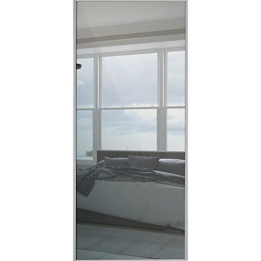 Spacepro Sliding Wardrobe Door Silver Framed Single Panel