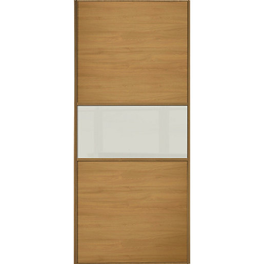 sliding doors. Wickes Sliding Wardrobe Door Fineline Oak Panel \u0026 Soft White Glass Doors