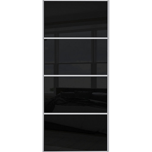 Wickes Sliding Wardrobe Door Silver Framed Four Panel