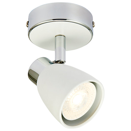 Wickes Major Led White Amp Chrome Single Spotlight 4 8w