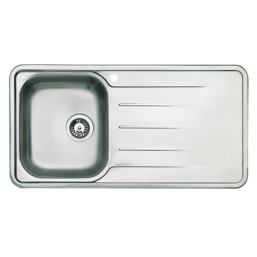 kitchen sinks wickes modo single bowl kitchen steel sink amp drainer wickes co uk 3069