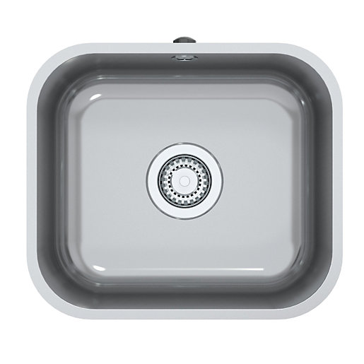 Perth Square 1 Bowl Inset Kitchen Sink - Stainless Steel | Wickes.co.uk