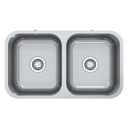 Perth Square 2 Bowl Inset Kitchen Sink - Stainless Steel | Wickes.co.uk