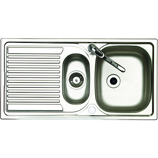 wickes 1 5 bowl reversible kitchen stainless steel sink  u0026 drainer with tap stainless steel sinks   kitchen sinks unit  kitchens   wickes co uk  rh   wickes co uk