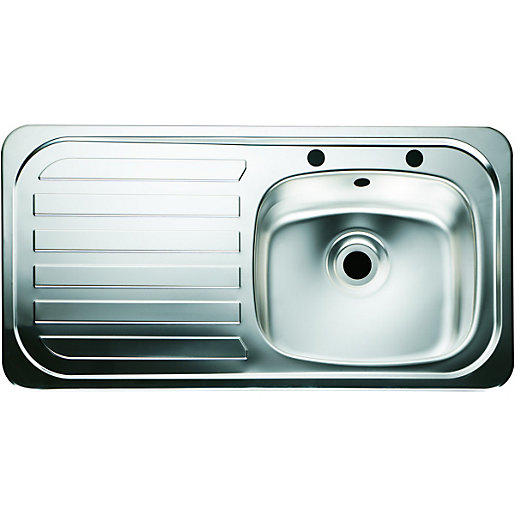 kitchen sinks wickes wickes 1 bowl kitchen sink amp left drainer stainless 3069