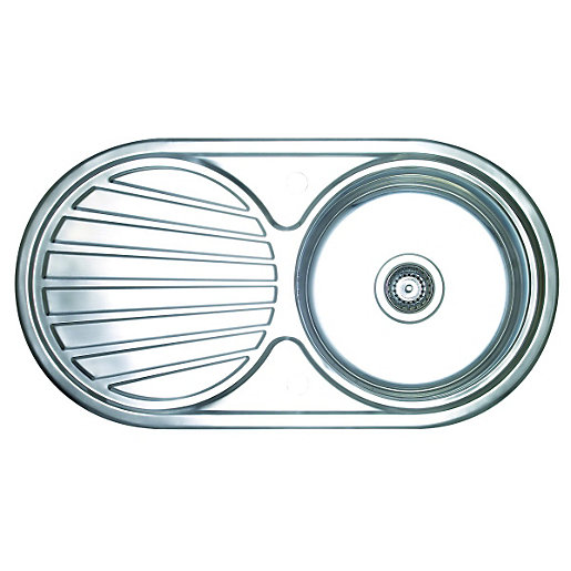 Wickes 1 Round Bowl Reversible Kitchen Sink & Drainer - Stainless ...
