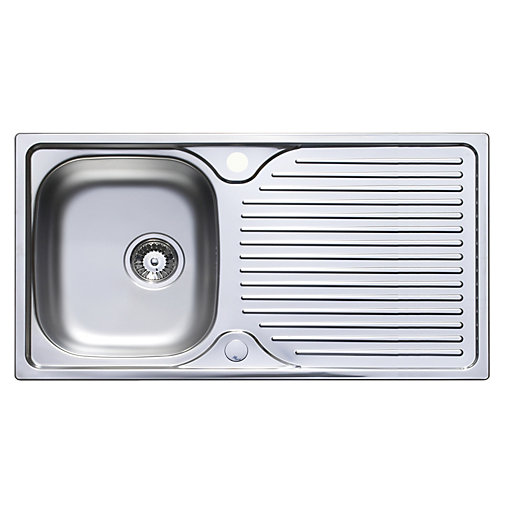wickes horizon 1 bowl kitchen sink drainer stainless steel rh wickes co uk small 1 bowl kitchen sink 1/2 bowl kitchen sink