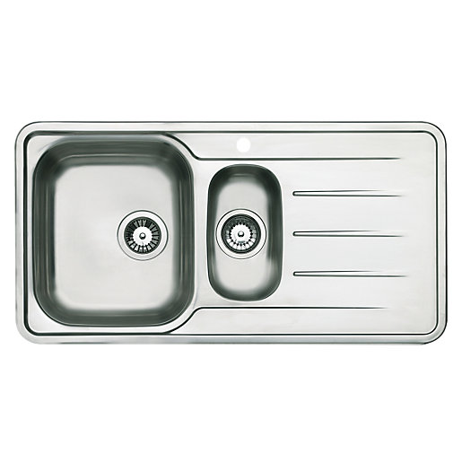 kitchen sinks wickes wickes modo 1 5 bowl kitchen steel sink amp drainer wickes 3069