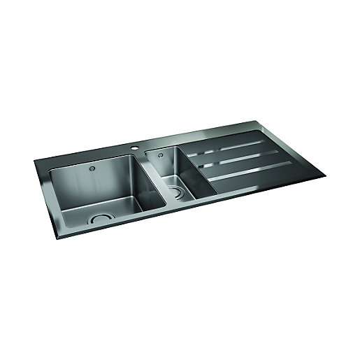 Wickes Rae 1.5 Bowl Right Hand Drainer Kitchen Sink with Black Glass ...