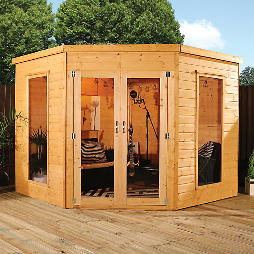 Mercia Contemporary Corner Summerhouse With Glazed Double Doors 8 X Ft