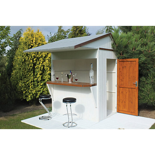 Shire apex roof dip treated garden bar store 6 x 4 ft for Summer garden and bar