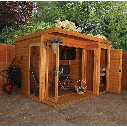 Mercia Large Room Garden Office With Side Shed & Bi-Fold