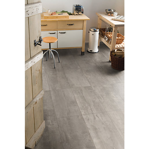 Wickes concrete tile effect laminate flooring for Square laminate floor tiles