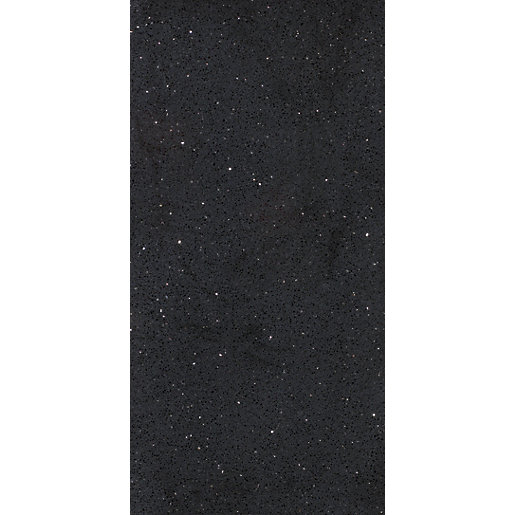 Wickes Starburst Quartz Black Natural Stone Tile 600 X