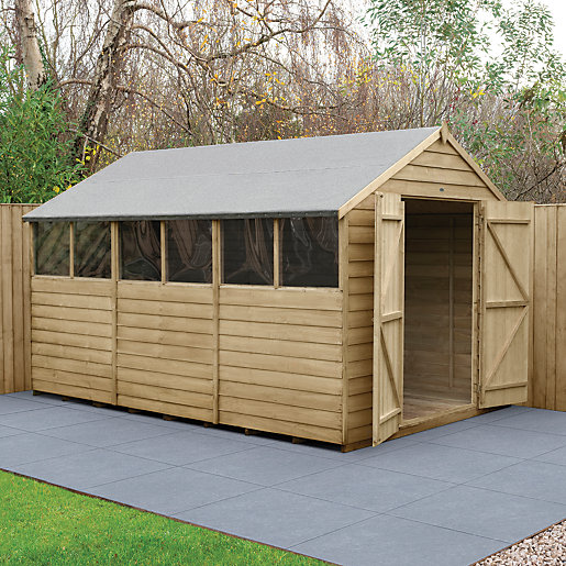 Forest Garden Apex Overlap Pressure Treated Double Door Shed 8 X 12 Ft