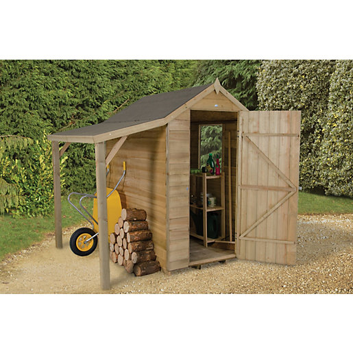 Forest Garden Apex Overlap Pressure Treated Shed With Side