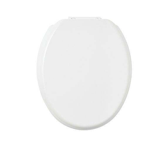 wickes thermoset stainless steel hinge toilet seat white. Black Bedroom Furniture Sets. Home Design Ideas