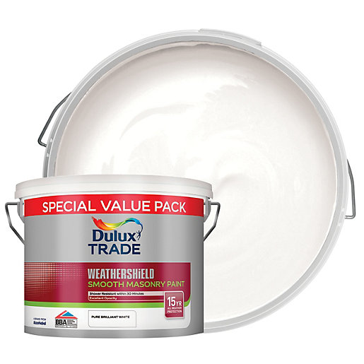 Dulux Trade Weathershield Smooth Masonry Paint - Brilliant