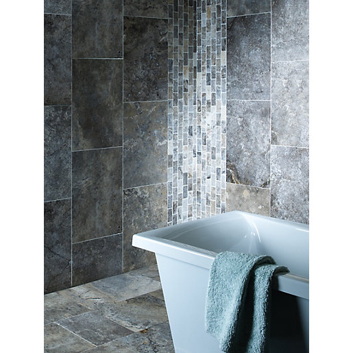 Wickes Silver Grey Honed Filled Travertine Wall Floor Tile 610 X 406mm
