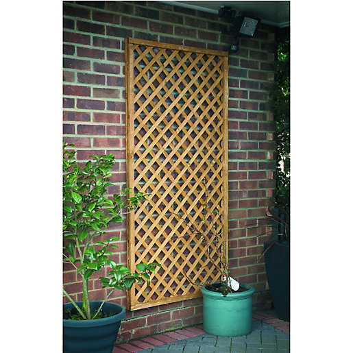 Wickes Fence Top Trellis Diamond Lattice Natural Timber   1.83m X 900mm