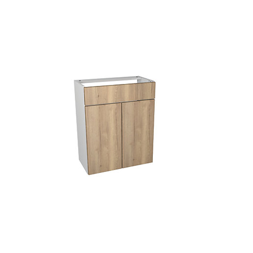 Wickes Vienna Oak Fitted Vanity Unit   600 Mm