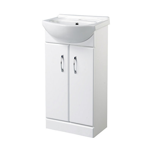 Wickes White Gloss Cloakroom Vanity Unit   425mm