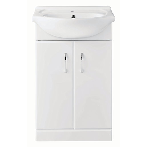 Wickes White Gloss Regular Vanity Unit 525mm