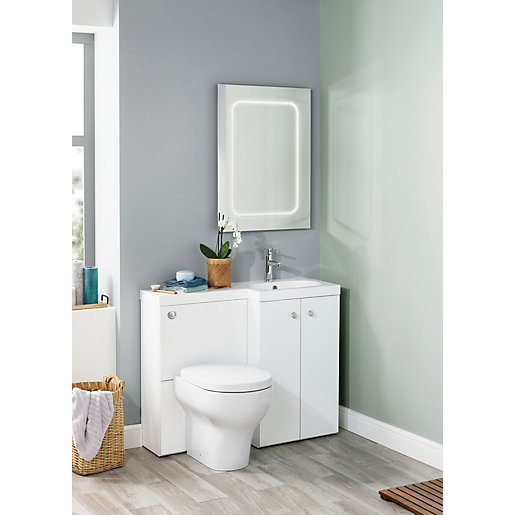 Wickes White L-Shaped Vanity Unit & Basin (RH)