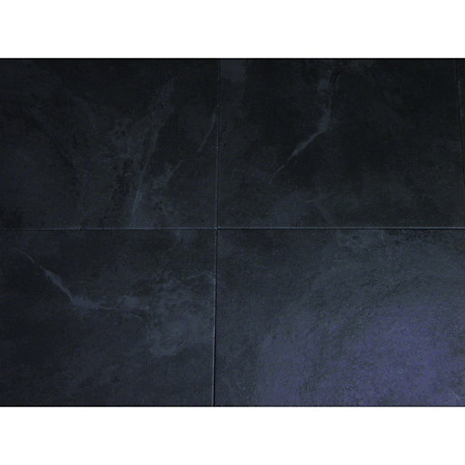 Wickes vinyl tiles black 305 x 305mm 6 pack for Black vinyl floor tiles