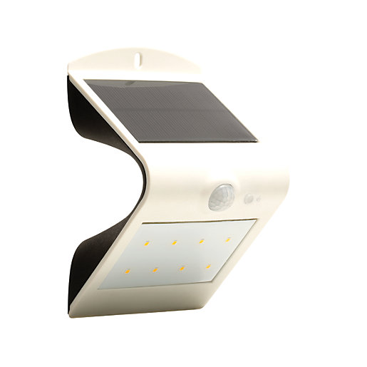 Outside Lights Wickes: Luceco Solar Guardian LED White PIR Wall Light