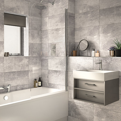 Wickes Manhattan Light Grey Structure Ceramic Wall Tile