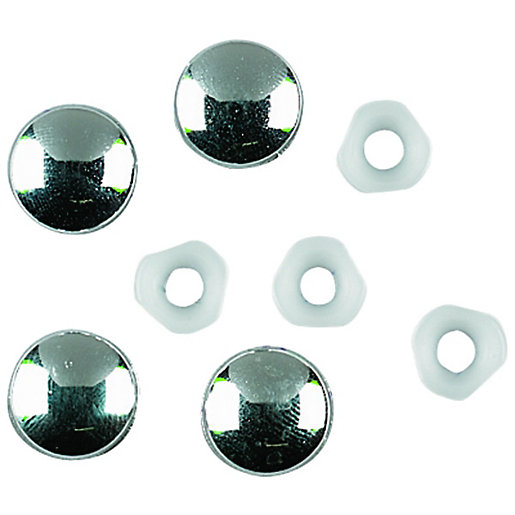 Wickes Chrome Plate Tops & Retain Washers Pack