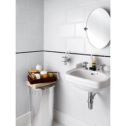 wickes bathroom wall tiles wickes bevelled edge white gloss ceramic wall tile 300 x 21662