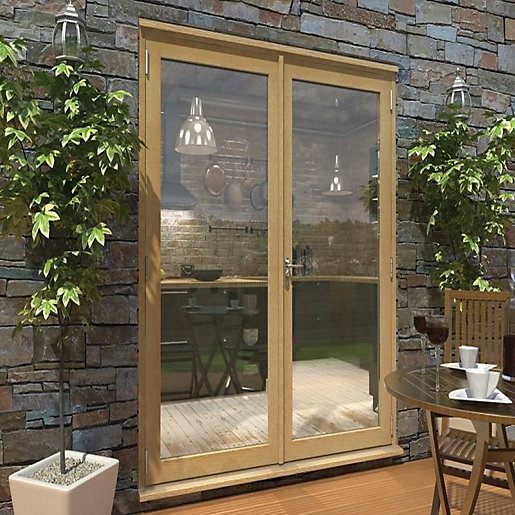 Rohden Pattern 10 Unfinished Oak French Doors 6ft
