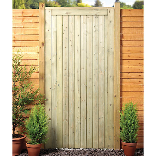 Wickes Framed Ledged Braced Flat Top Timber Gate 915 X 1829 Mm