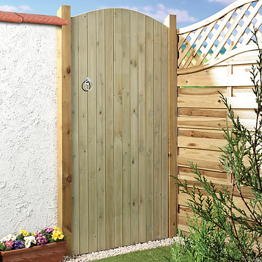 Wickes Ledged U Braced Arched Top Timber Gate X Mm With Wooden Garden Gates.