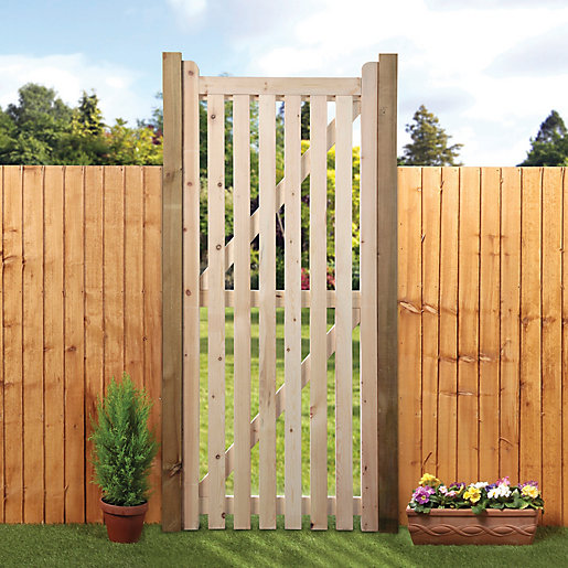 Ordinaire Wickes Open Slatted Tall Timber Gate Kit   990 X 1829 Mm