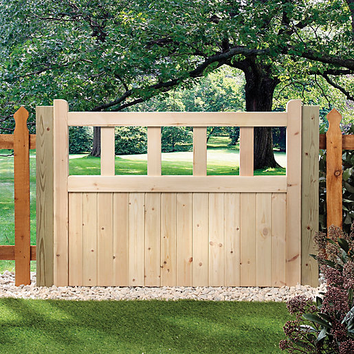 Bon Wickes Timber Cut Out Top Timber Gate Kit   1206 X 914 Mm