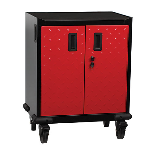 Hilka Mobile 2 Door Storage Cabinet - Red