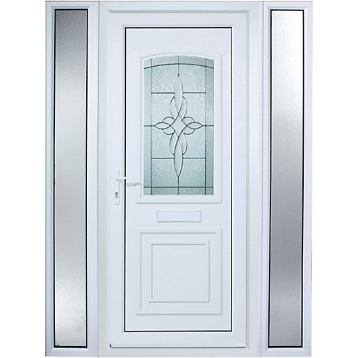 Wickes Medway 2 Sidelight Pre-hung Upvc Door 2085